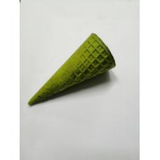 Рожок вафельный 110 с ровным краем зеленый
