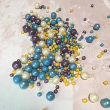 Драже воздушный рис, микс, синий,белый,фиолетовый и золотой.