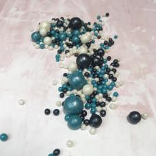 Драже воздушный рис, микс, синий, белый, темно-синий.