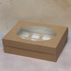 Упаковка ECO MUF 12 с окном под 12 капкейков