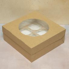 Упаковка ECO MUF 9 с окном под 9 капкейков