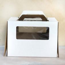 Короб для торта с окном и ручками 220*220*240