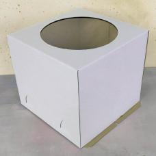 Короб для торта с окном белый 220*220*250 мм.