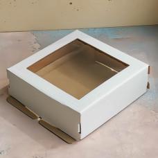Короб для торта с окном белый 220*220*130 мм.