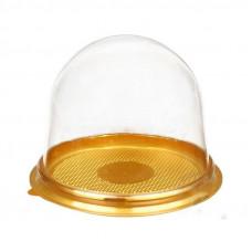 Коробка пластиковая для пирожного ПР-Т-85, золотое дно
