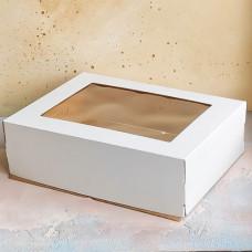 Короб для торта с окном белый 300*400*120 мм.