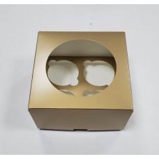 Упаковка с окном под 4 капкейка, золото