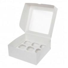 Короб под 12 капкейков с окном, белый
