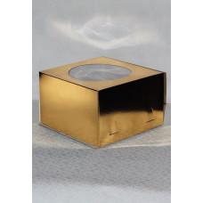 Короб картонный для торта золотой с окном 300*300*190 мм