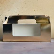 Коробка для рулета с окном, цвет золото