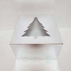 """Короб картонный для торта """"Елочка"""" золотой с окном 300*300*190 мм"""